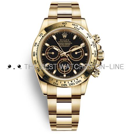 Rolex Cosmograph Daytona 18K Yellow Gold Black Dial Stick Markers Automatic Replica Watch