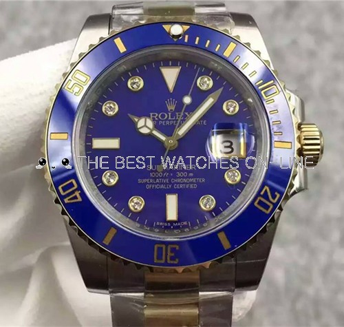 Rolex Submariner Swiss Cal.3135 Automatic Watch Diamonds Markers Blue Dial (Super Model)