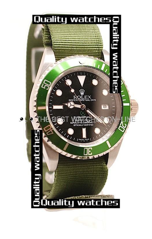 Rolex Submariner 50th Anniversary Edition Small Date window Green Nylon strap Automatic Replica Watch