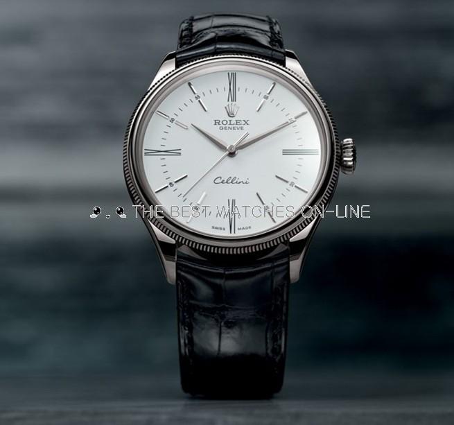 Swiss Replica Rolex Cellini Automatic Watch Black Strap White Dial (High End)