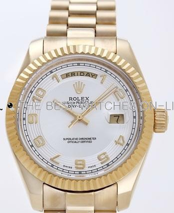 Rolex Day-Date II Replica Watches Silver Dial RX41173