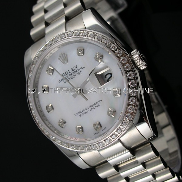 Rolex Datejust Diamonds bezel White dial Men Automatic Replica Watch