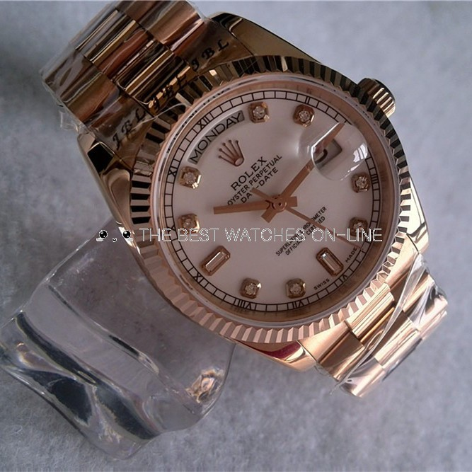 Rolex Day-Date Automatic Swiss Watch Rose Gold Diamonds Markers 36mm
