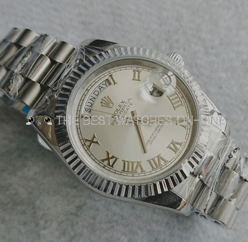Rolex Day-Date II Swiss Automatic Watch Silver White Dial 41MM (High End)