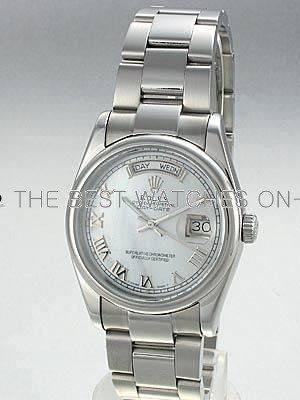 Rolex Oyster Day Date Replica Watches Pearl dial roman numeral hour markers RX7085