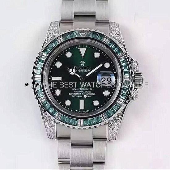 Rolex Submariner Date Swiss Automatic Diamonds Bezel Green Dial (Super Model)