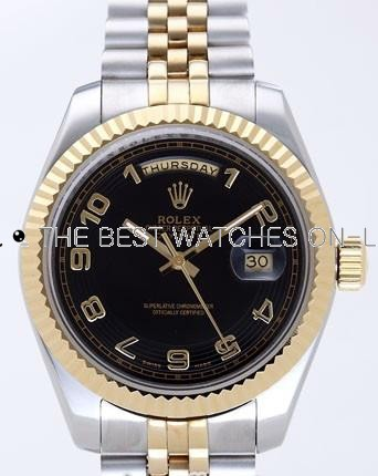 Rolex Day-Date II Replica Watches Black Dial RX41124