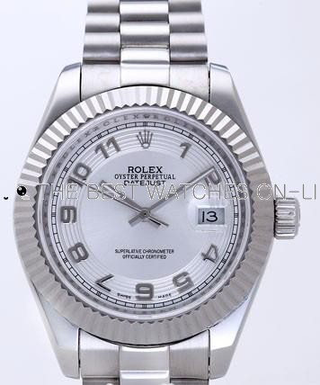 Rolex Datejust II Replica Watches Silver Dial RX4113