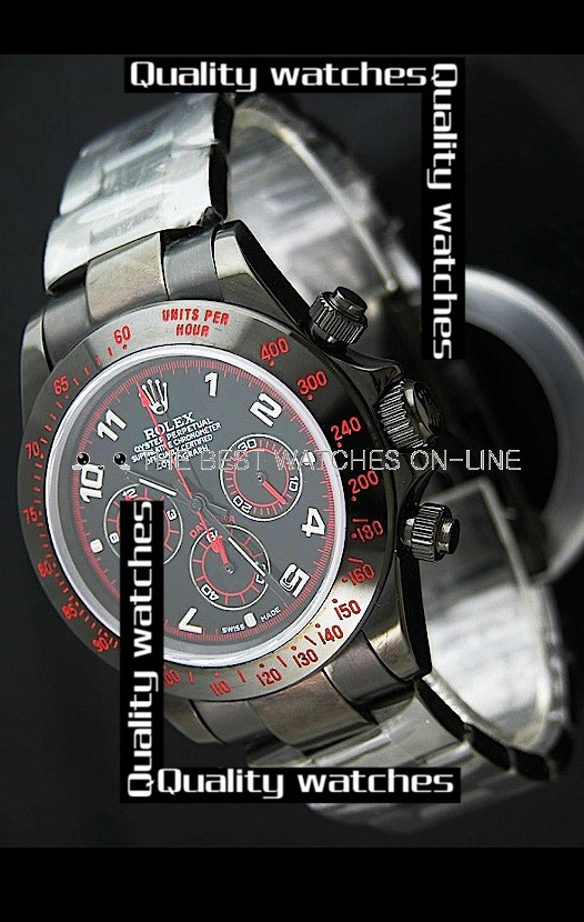 Swiss Rolex Cosmograph Daytona PVD coated Black Dial Silver Arabic  Automatic Replica Watch