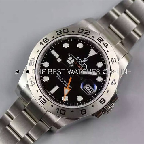Swiss Replica Rolex Explorer II Black Dial Orange GMT Hand (Super Model)