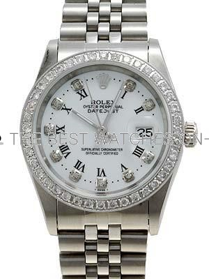 Rolex Datejust Replica Watches SS White dial diamond and roman hour markers