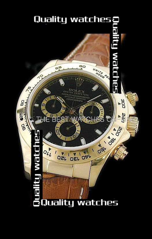 Swiss Rolex Cosmograph Daytona Yellow Gold Golden Sub-Dials Stick Markers Brown Strap Automatic Replica Watch