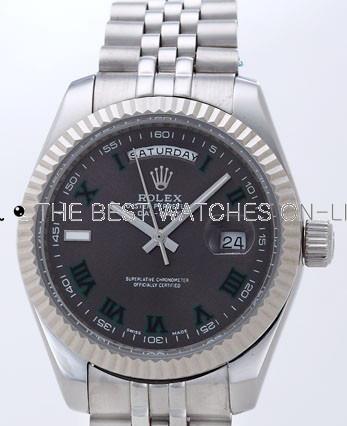 Rolex Day-Date II Replica Watches Black Dial RX41138
