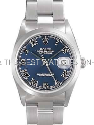 Rolex Oyster Datejust Replica Watches Stainless Steel Blue Dial Roman Numeral Hour markers I RX113