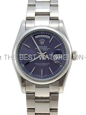 Rolex Oyster Day Date Replica Watches White Gold Blue dial bar hour markers I RLLP04