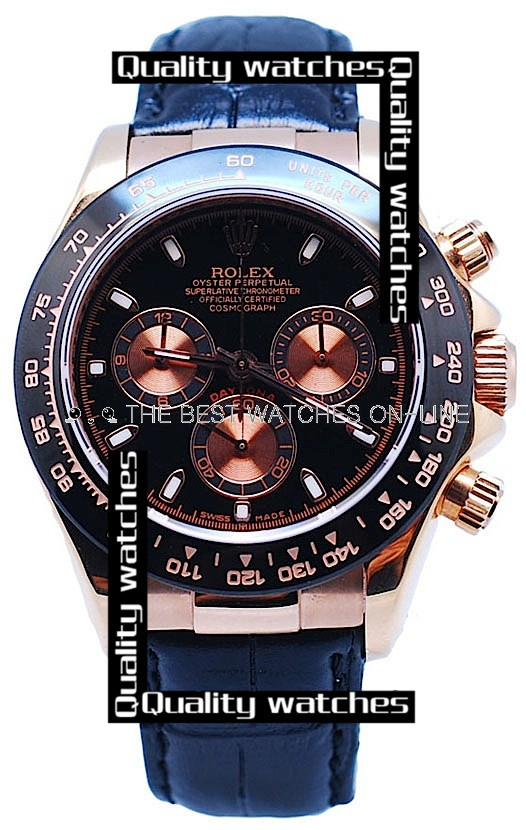 Swiss Rolex Cosmograph Daytona Rose Gold Black Dial Black Leather Strap Automatic Replica Watch
