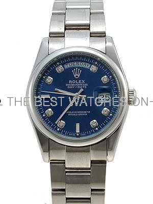 Rolex Oyster Day Date Replica Watches White Gold Blue dial diamond hour markers II RLLP05