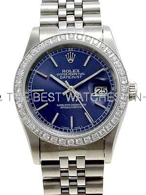 Rolex Datejust Replica Watches Jubilee SS Dark blue dial bar markers I