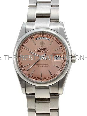 Rolex Oyster Day Date Replica Watches White Gold Salmon Rose dial bar numeral hour markers LLPA3