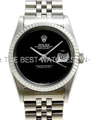 Rolex Datejust Replica Watches SS Black dial no markers V