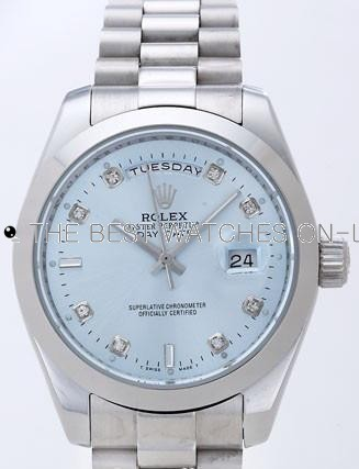 Rolex Day-Date II Replica Watches Silver Dial RX41155