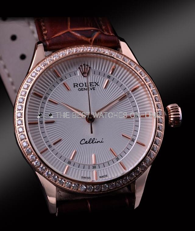 Swiss Rolex Cellini Rose Gold Diamond Bezel Stick Time Markers White Dial Automatic Replica Watch