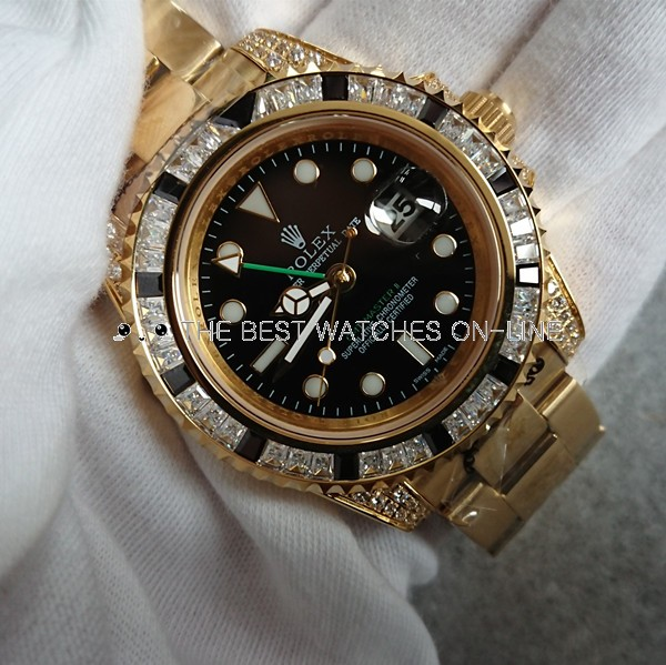 Rolex GMT-Master II Automatic Replica Watches Yellow Gold Black Dial 40mm