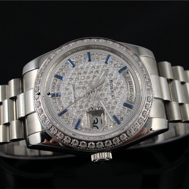 Swiss Rolex Day-Date Dense Diamond bezel and dial Bar-type Sapphire time markers Automatic Replica Watch