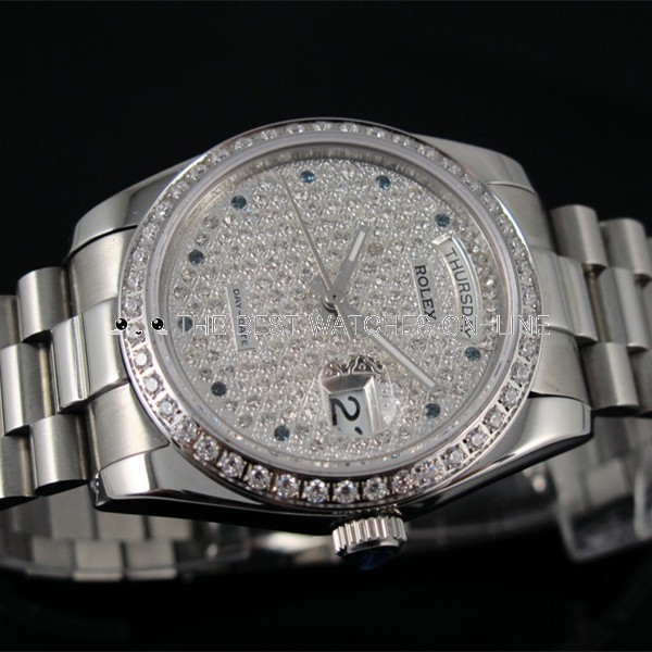 Swiss Rolex Day-Date Dense Diamonds dial and bezel Automatic Replica Watch