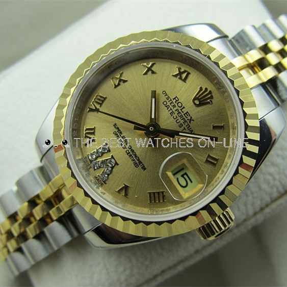 Swiss Rolex Datejust Golden dial 18K Yellow Gold Roman numerals Diamonds on 6 o'clock Automatic Replica Watch