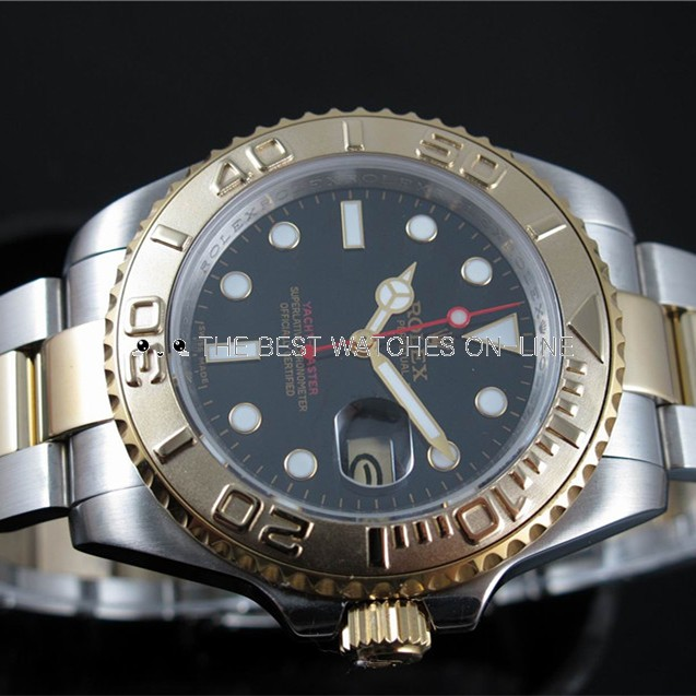 Rolex Yacht-Master Black Dial Two toned Strap Men Automatic Replica Watch