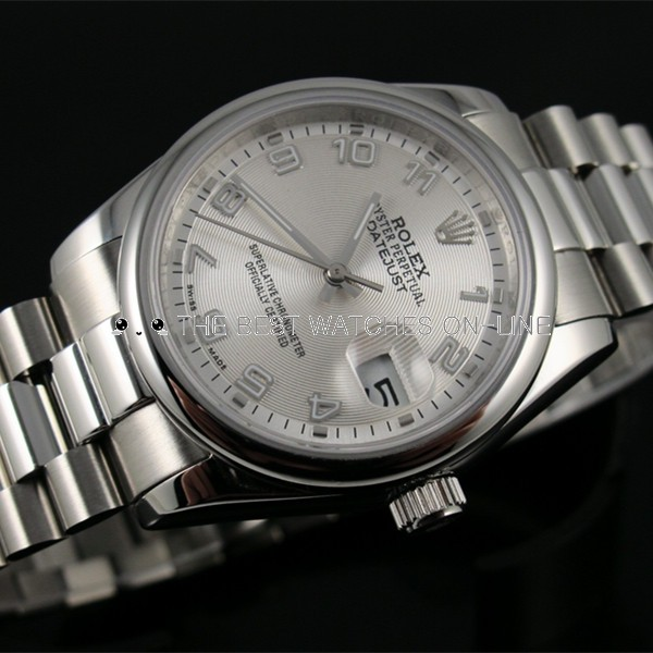 Swiss Rolex Datejust Silver dial Arabic numerals time markers Automatic Replica Watch