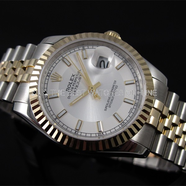 Rolex Datejust 18K Gold White dial Bar-type time markers Two toned strap Automatic Replica Watch