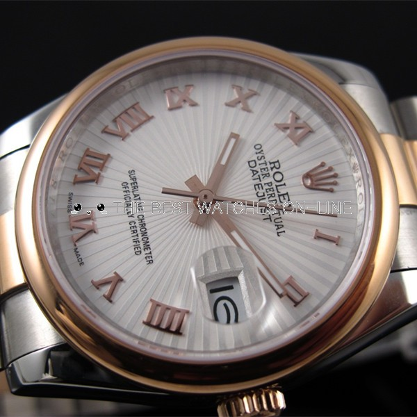 Rolex Datejust 18K Gold White Radials dial Roman numerals time markers Automatic Replica Watch
