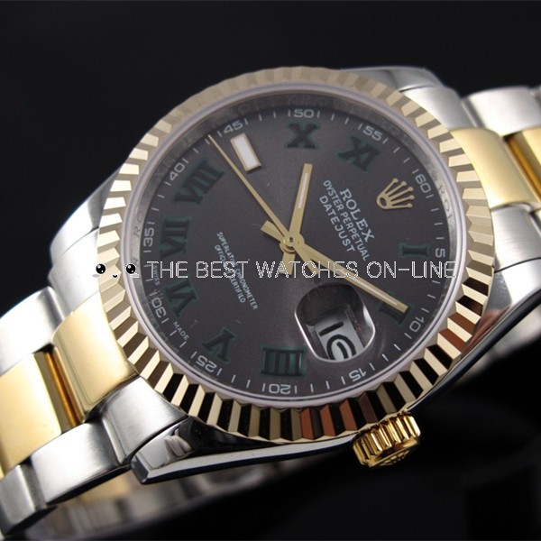 Rolex Datejust 18K Gold Chocolate dial Roman numerals time markers Automatic Replica Watch