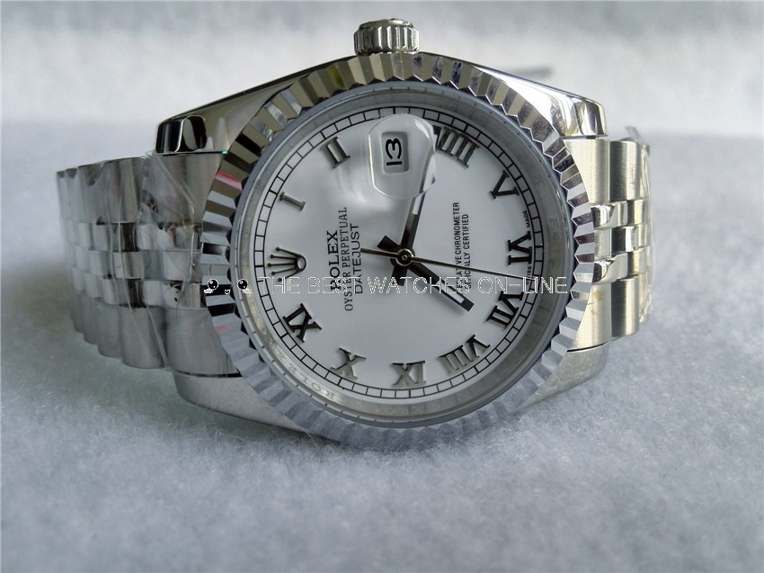 Rolex Datejust Replica Watches SS White dial roman numeral markers II