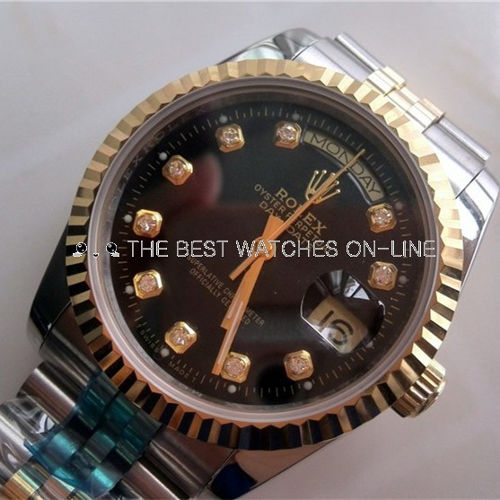 Rolex Day-Date Black Dial Diamonds Markers