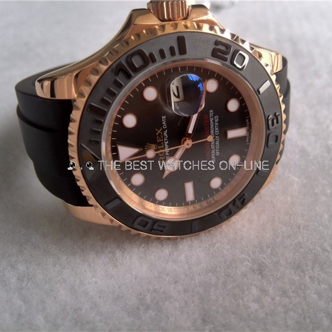 Rolex Yacht-Master Black Dial Rubber Strap (High End)