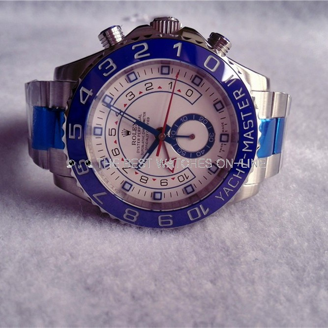 Swiss Replica Rolex Yacht-Master II White Dial Blue Ring (High End)