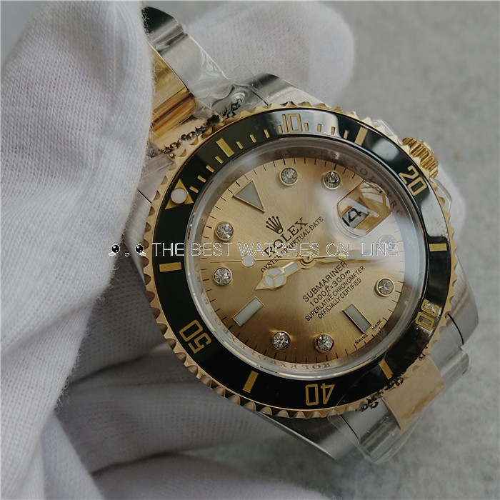 Replica Rolex Submariner Automatic Two-Tone Watch Gold Dial 40mm