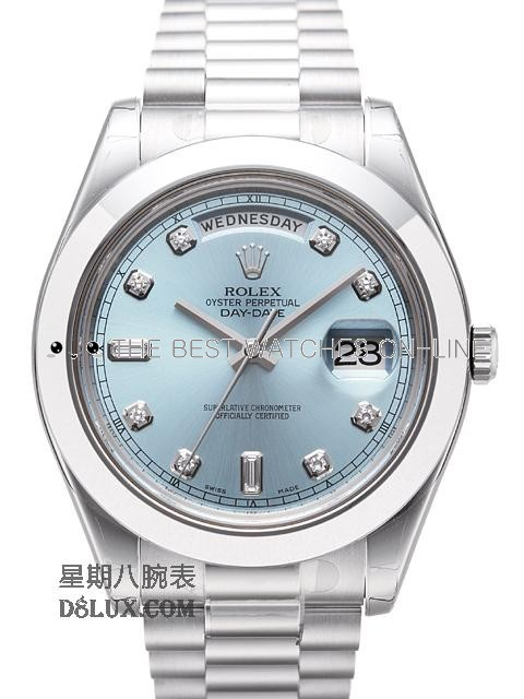 Replica Rolex Day-Date Automatic Watch 218206-0009 Ice Blue Dial 41mm