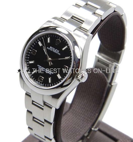 Rolex Oyster Perpetual Swiss Replica Watch 177200 Black Dial 31mm (High End)