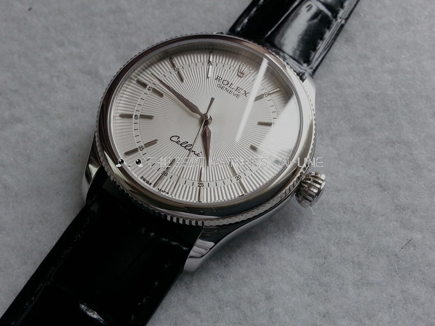 Rolex Cellini Swiss Automatic Watch White Dial Black Strap