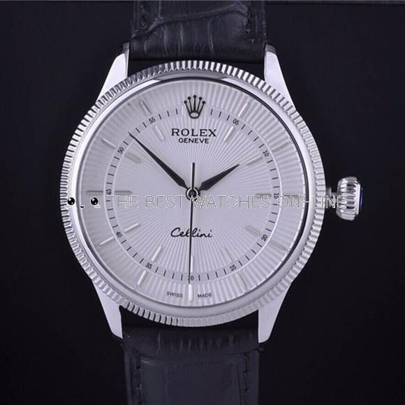 Rolex Cellini Swiss Automatic Watch White Dial Black Strap