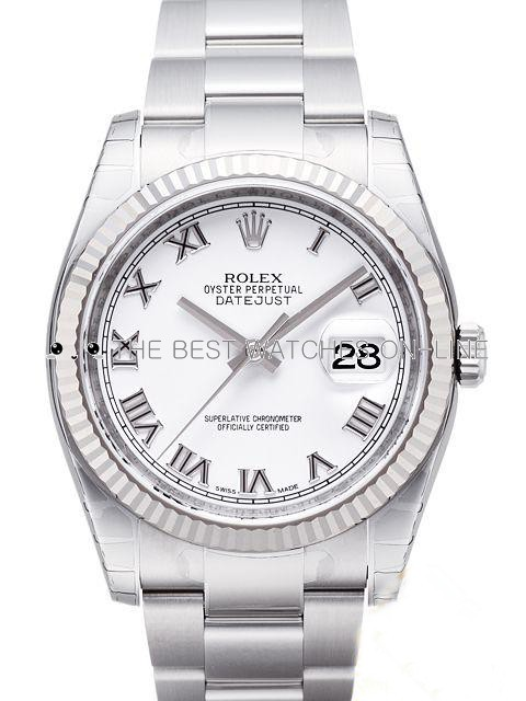 Rolex Oyster Perpetual Swiss Replica Watch 116234-0090 White Dial 36mm (High End)