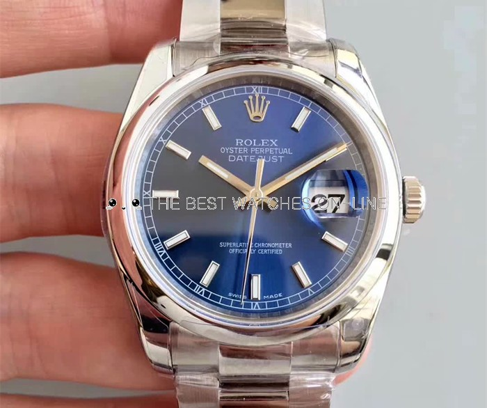 Swiss Rolex Datejust Mens 116200-0057 Blue dial Bar-type time markers Automatic Replica Watch