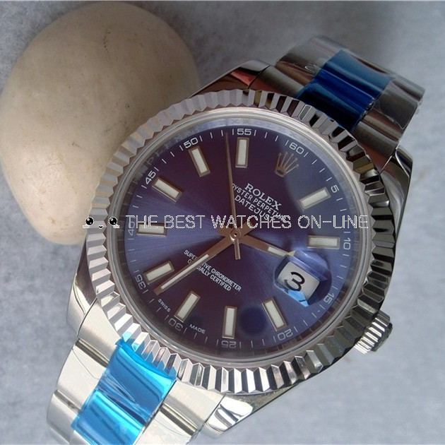 Swiss Rolex Datejust Mens 116334 Blue dial Stick Hour markers Automatic Replica Watch