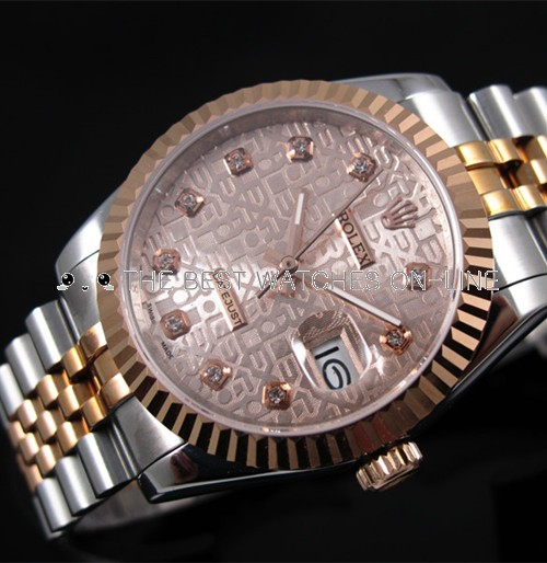 Rolex Datejust 18K Rose Gold Golden dial Diamond time markers Automatic Replica Watch