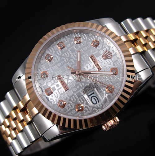 Rolex Datejust 18K Rose Gold Silver dial Diamond time markers Automatic Replica Watch