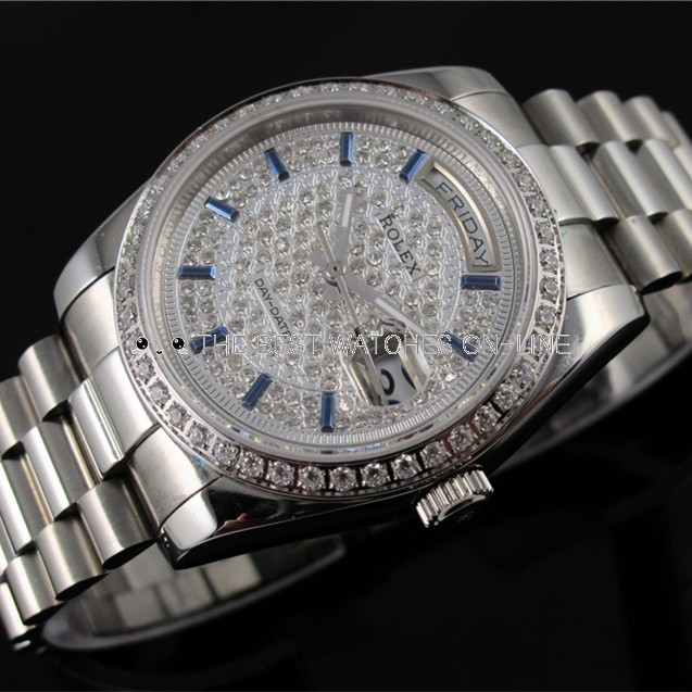 Rolex Day-Date Swiss Automatic Watch Full Diamonds Dial